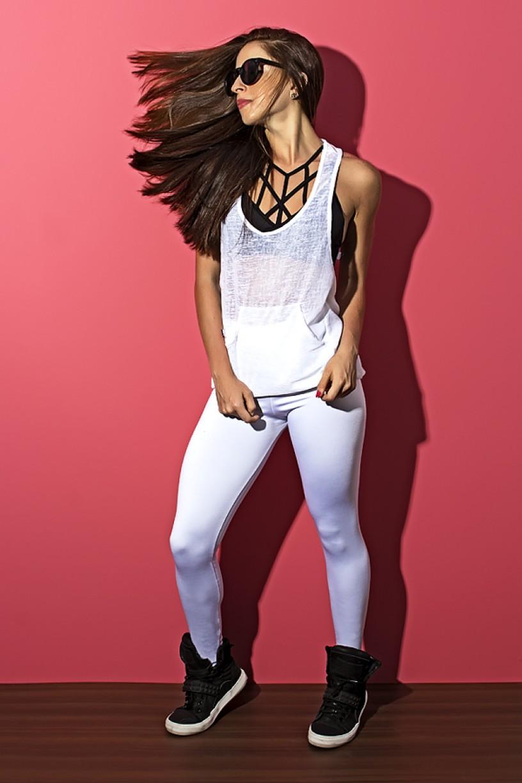 Camiseta Tecido Transparente com Bolso (Branco) | Ref: KS-F308-001