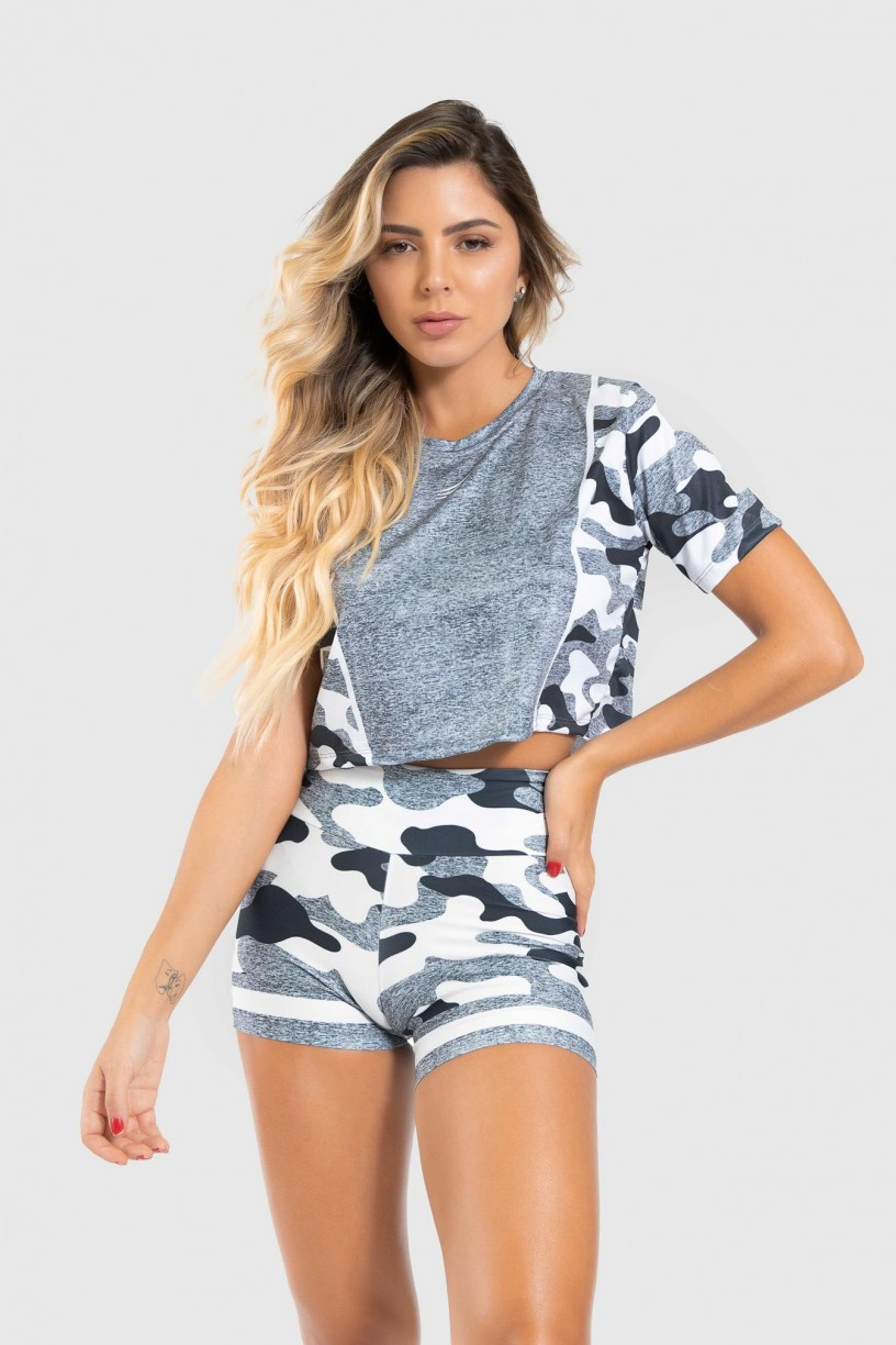 Cropped Fitness Soltinho Estampa Digital Militar Line | Ref: GO405