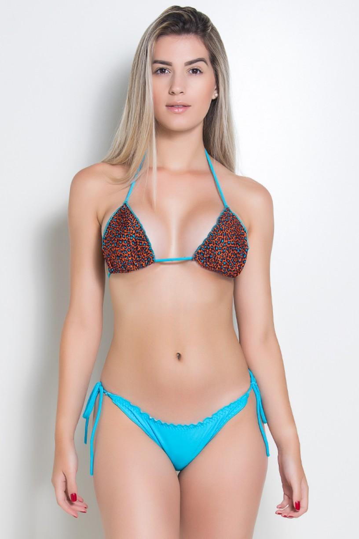 Biquini Levanta Bumbum com Calcinha Lisa (Oncinha Laranja e Azul Celeste / Azul Celeste) |  Lycra de Qualidade | Ref: DVBQ08-015