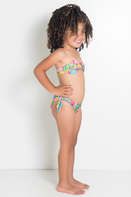 Biquini Infantil Tomara Que Caia Estampado com Bojo (Frutas Verde Amarelo e Salmão)   Ref: DVBQ35-001