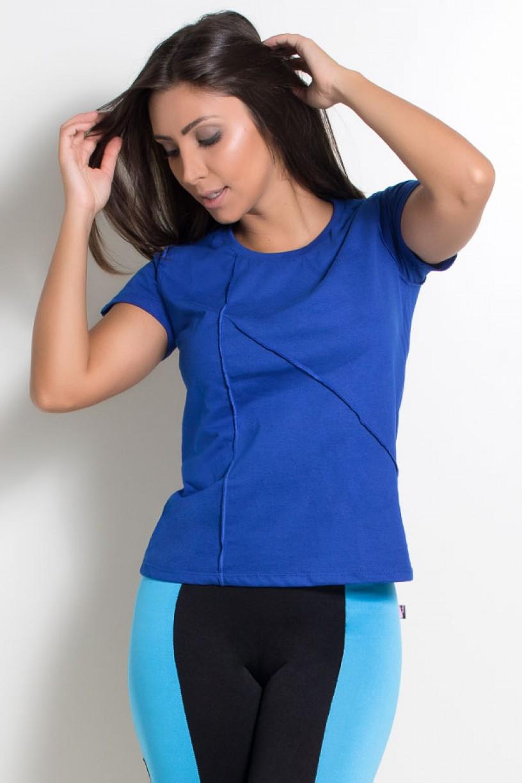 Camiseta de Malha com Ponto de Cobertura (Azul Royal) | Ref: KS-F1034-008