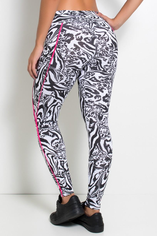 Legging Estampada Cós Médio com Vivo (Tigre Preto e Branco / Rosa Pink) | Ref: KS-F1164-001