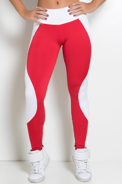 Legging Lisa com Detalhe em Ondas (Vermelho / Branco) | Ref: KS-F1185-002