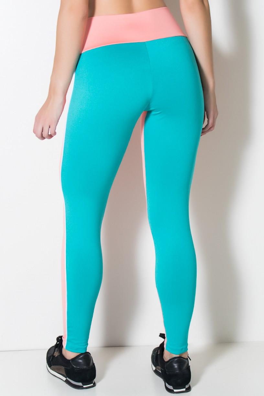 Calça Duas Cores com Vivo Branco (Coral Tandy/Verde Esmeralda) | Ref: KS-F1651-001