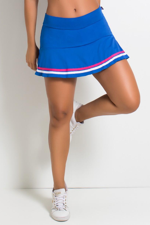 Short Saia Com Listras (Azul Royal - Rosa Pink - Branco) | Ref: KS-F1681-001