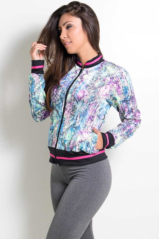 Jaqueta Estampada com Bolso e Detalhe Liso (Mosaico e Bolinhas Coloridas) | Ref: KS-F1815-001