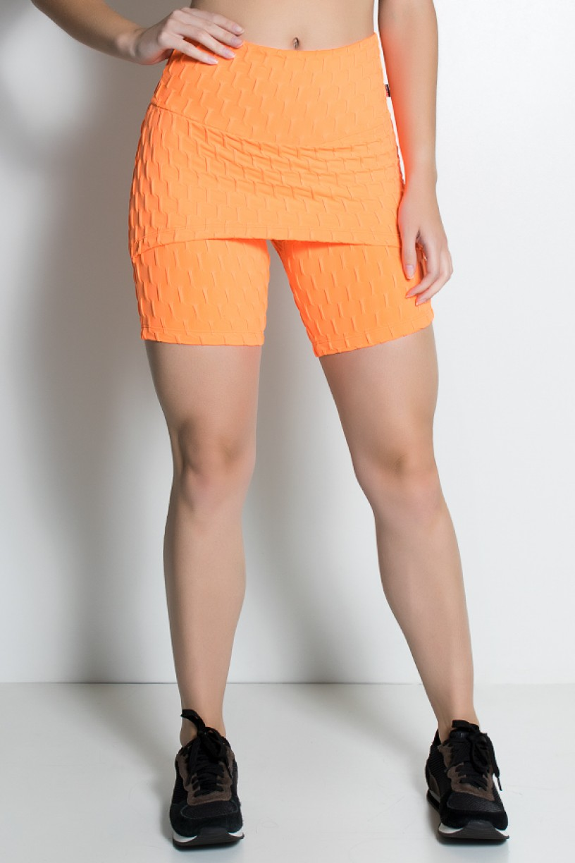 Bermuda Britney Tecido Bolha Fluor (Laranja Fluor)   Ref: KS-F1892-002
