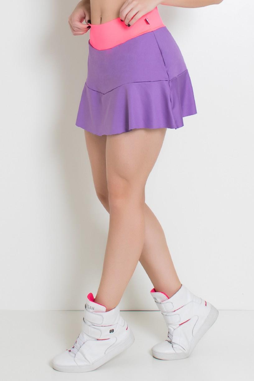 Short Saia Duas Cores com Babado (Lilás / Rosa Fluor)   Ref: KS-F1976-001