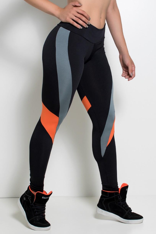 Legging Três Cores com Recortes nas Pernas (Preto - Cinza - Laranja) | Ref: KS-F2015-001
