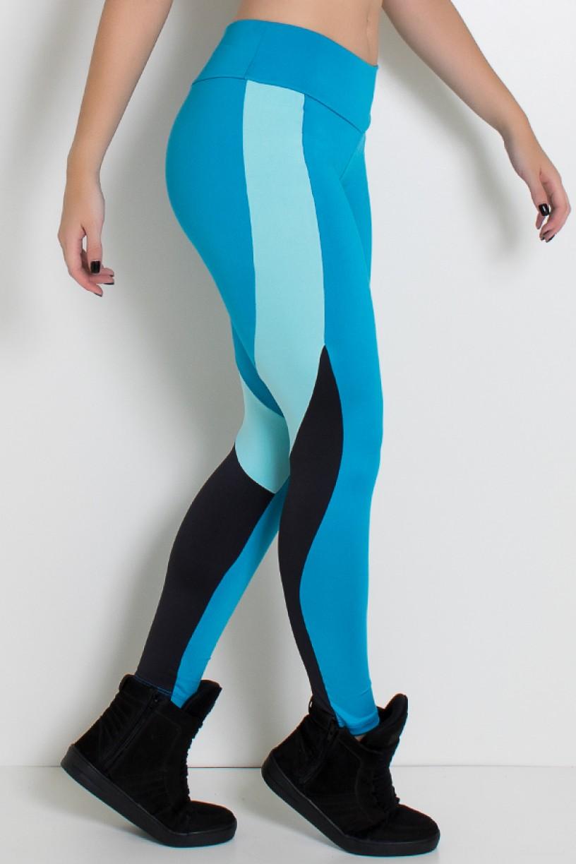 Legging Três Cores com Cós Médio (Azul Celeste / Azul Bebê / Preto) | Ref: KS-F2078-001