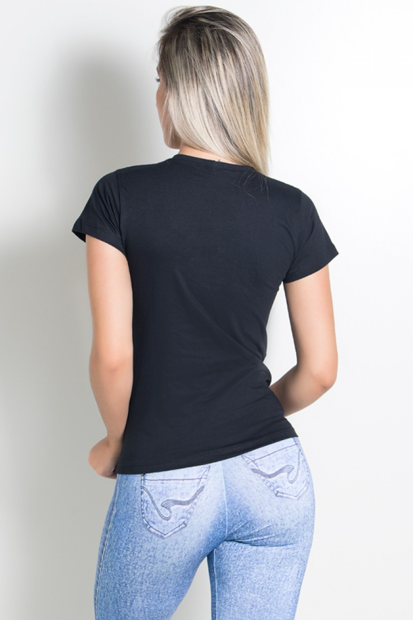Camiseta Feminina Dont Frown Dont  Pout Just Work Out (Preto) | Ref: KS-F229-001