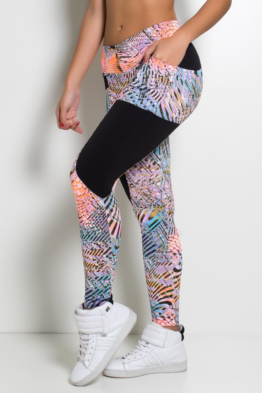 Calça Estampada com Detalhe Liso Adriane | Ref: KS-F266