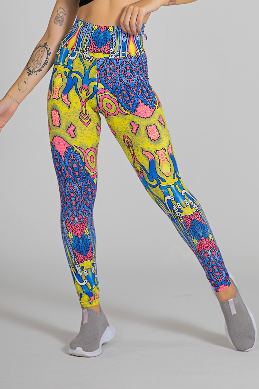 Legging Estampada Indiano Rosa Azul e Amarelo | Ref: KS-F27-067