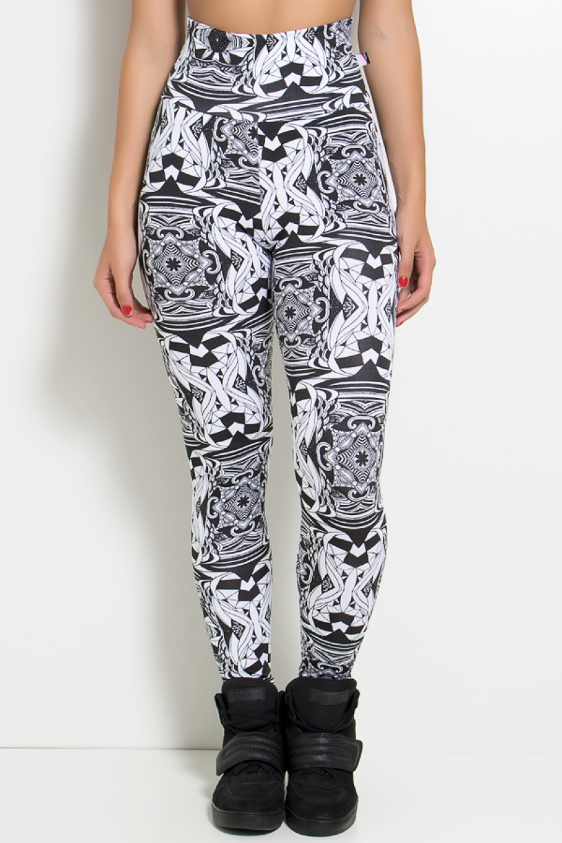 Legging Estampada Abstrato Branco com Preto | Ref: KS-F27-076