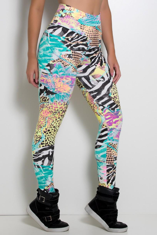 Legging Estampada Tigre e Zebra com Flor | Ref: KS-F27-013
