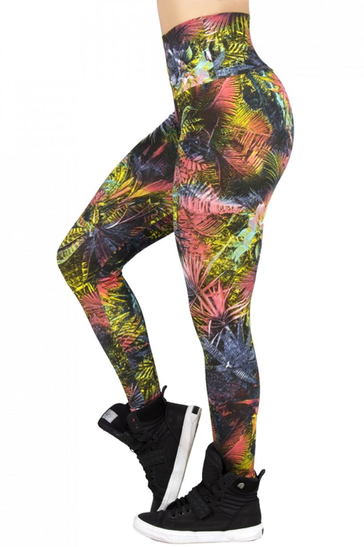 Legging Estampada Preto com Folhagem Colorida | Ref: CA253