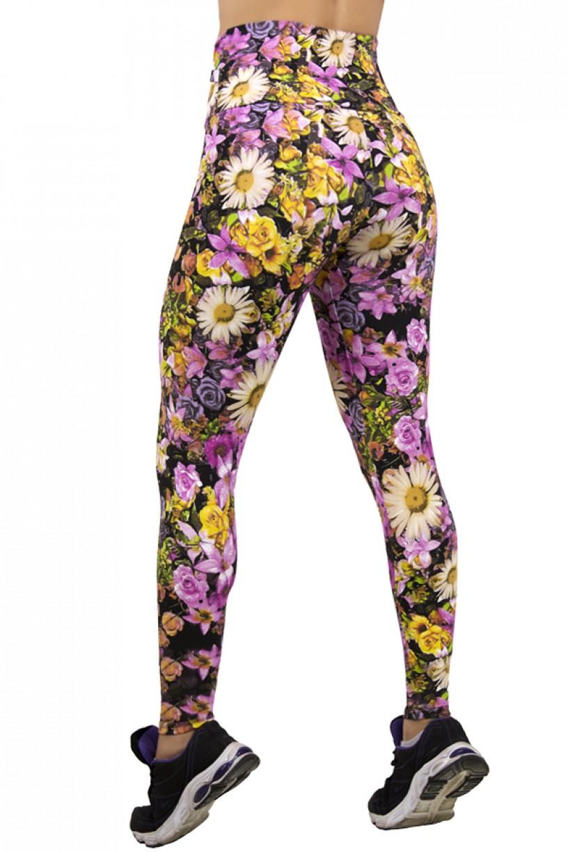 Legging Estampada Floral Lilás e Amarelo