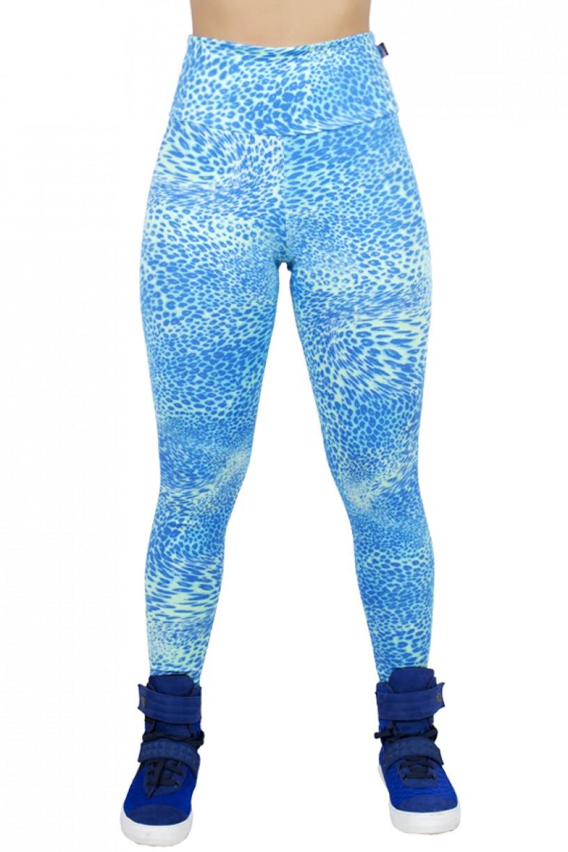 Legging Estampada Oncinha Azul com Verde Fluorescente | Ref: CA395