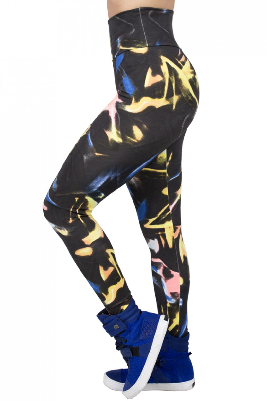 Legging Estampada Preto com Azul Laranja e Rosa | Ref: CA436