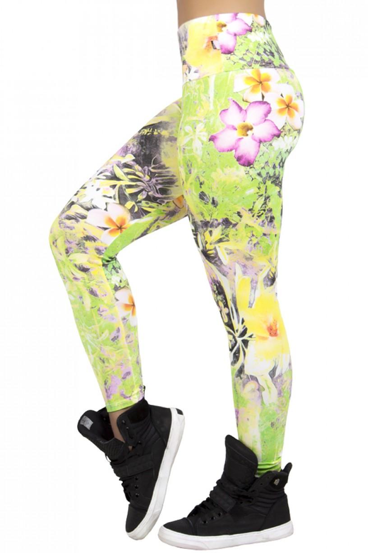 Legging Estampada Flor Branca e Laranja com Folha Verde e Amarela | Ref: CA165