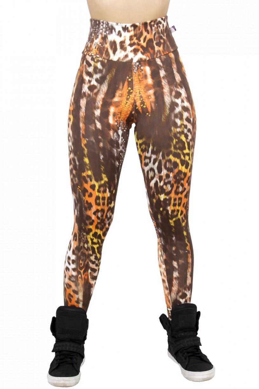 Legging Estampada Onça Amarela e Laranja com Escama | Ref: CA422