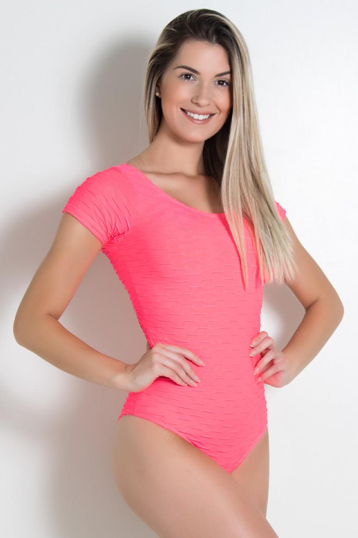 Body Costa Aberta Tecido Bolha Fluor (Rosa Fluor) | Ref: KS-F311-001