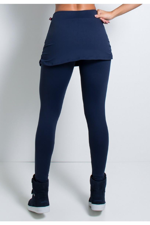Calça Legging Lisa com Saia Franzida (Azul Marinho)   Ref: KS-F315-001