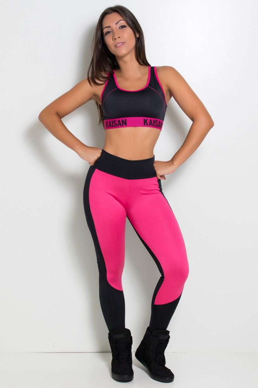 Calça Legging Duas Cores Suplex (Preto / Rosa Pink) | Ref: KS-F34-003