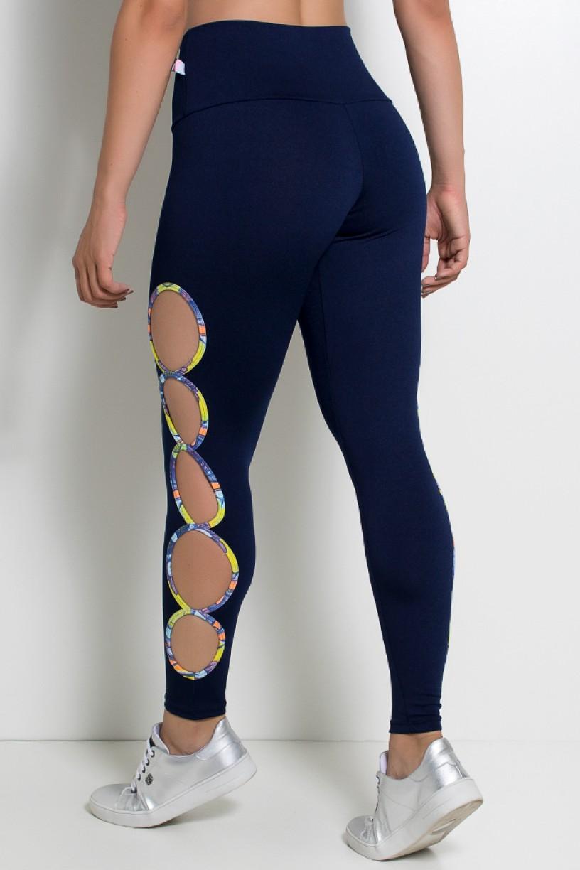 Legging Gota Sabrina Lisa com Viés Estampado (Azul Marinho) | Ref: KS-F390-002
