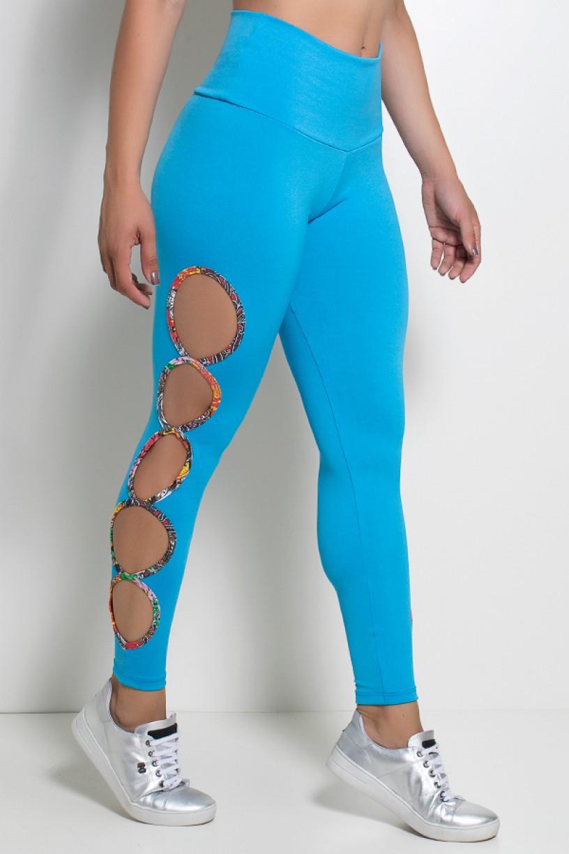 Legging Gota Sabrina Lisa com Viés Estampado (Azul Celeste) | Ref: KS-F390-003