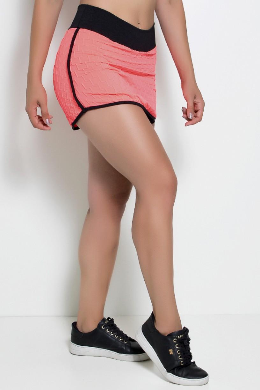Short Saia Paris Tecido Bolha Fluor com Detalhe Liso (Rosa Fluor) | Ref: KS-F450-001