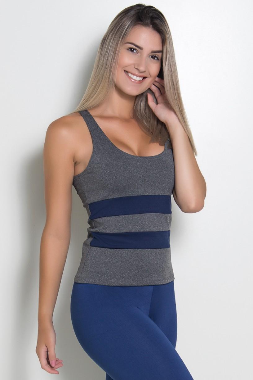 Camiseta Mescla com Detalhe Liso (Azul Marinho) | Ref: KS-F494-003