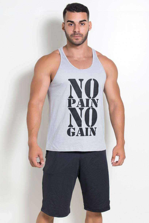 Camiseta Regata (No Pain No Gain) (Cinza) | Ref: KS-F524-004