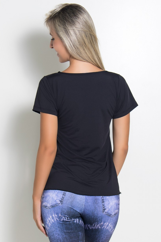 Camiseta Paloma Microlight Be Fitness (Preto) | Ref: KS-F574-001