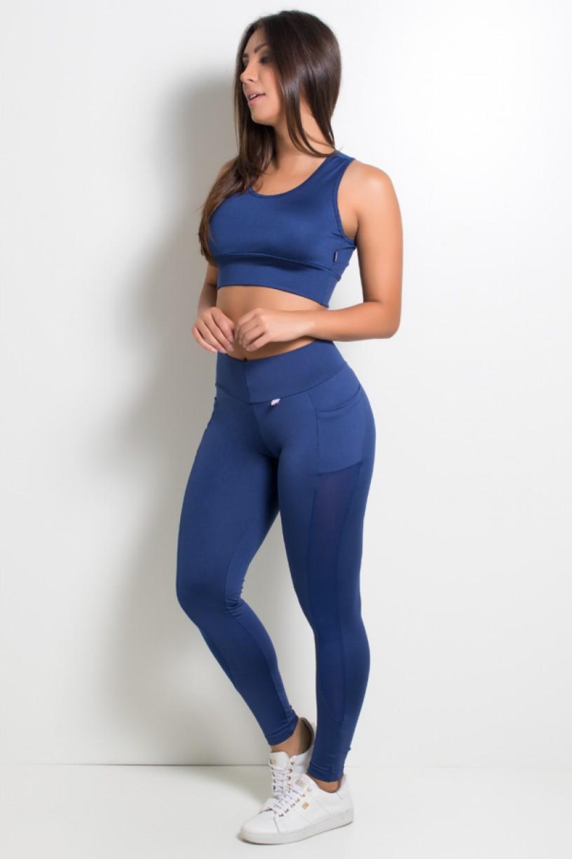 Calça Paula Lisa com Detalhe Dry Fit e Bolso (Azul Marinho) | Ref: KS-F584-003