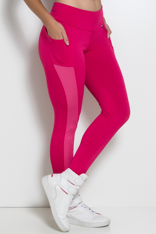 Calça Paula Lisa com Detalhe Dry Fit e Bolso (Rosa Pink) | Ref: KS-F584-004