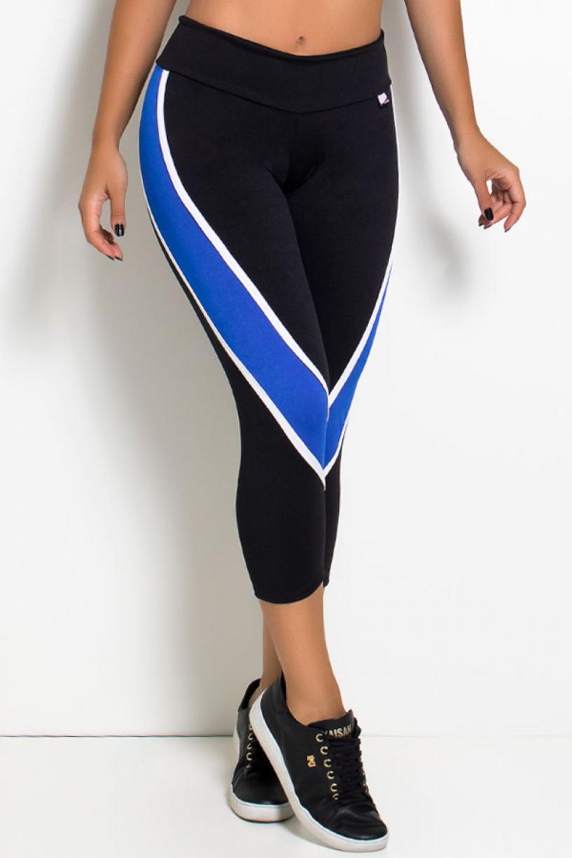 Calça Corsário Candice S. com Listras (Preto + Branco + Azul Royal)   Ref: KS-F587-001