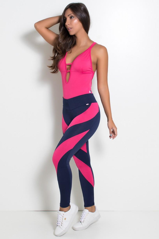 Conjunto Body de Tiras + Calça (Rosa Pink / Azul Marinho) | Ref: KS-F620-002