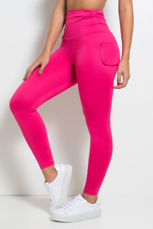 Calça com Bolso e Cós Franzido (Rosa Pink)   Ref: KS-F629-003
