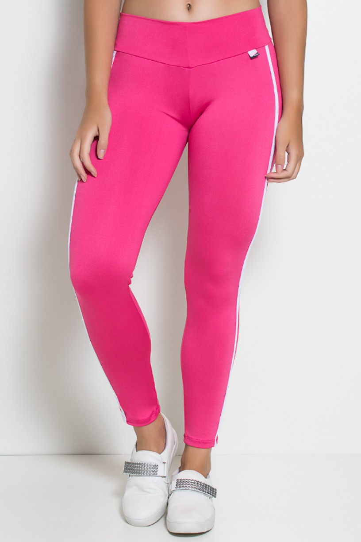 Calça Fuseau Cós Baixo com Duas Listras (Rosa Pink)   Ref: KS-F654-001