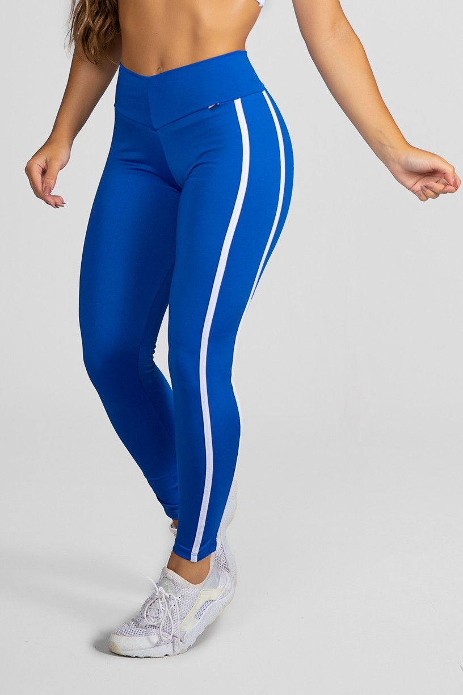 Calça Fuseau Cós Baixo com Duas Listras (Azul Royal) | Ref:F654-004