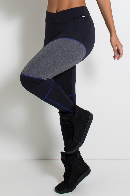 Calça Lisa com Detalhe Mescla e Ponto de Cobertura (Preto / Azul Royal / Mescla) | Ref: KS-F724-002