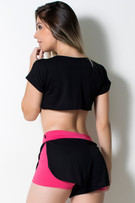 Conjunto Cropped Dry Fit + Short Liso com Detalhe Dry Fit (Preto / Rosa Pink) | Ref: KS-F855-001