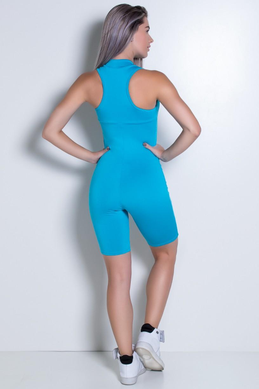 Macaquinho Fitness de Gola e Fecho Cores Lisas (Azul Celeste)   Ref: KS-F93-004