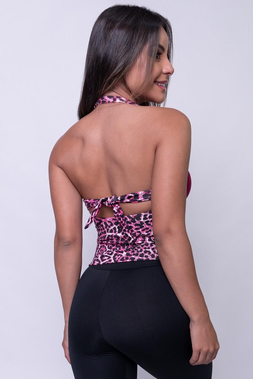 Cropped de Pescoço Estampado com Detalhe Liso (Oncinha Rosa Fluor / Vinho) | Ref: KS-F939-001