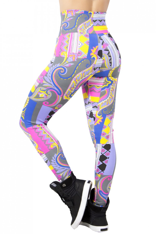 Legging Estampada Mosaico e Flores Coloridas 3 | Ref: CA373