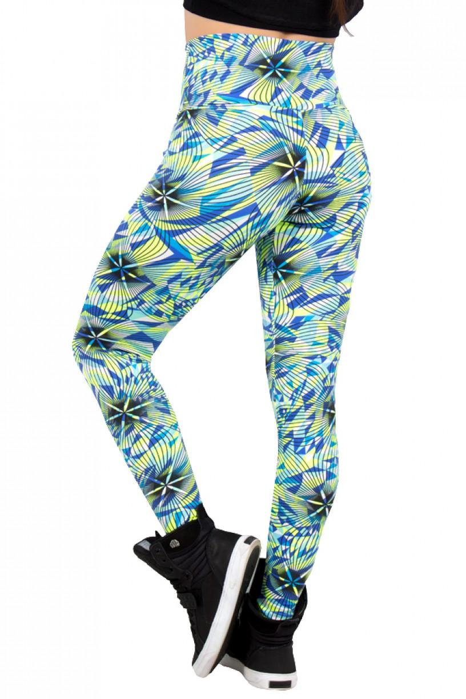 Legging Estampada Triângulo Azul e Verde com Listra Preta | Ref: CA354