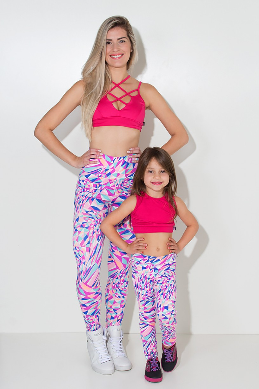 Kit com 5 (cinco) Leggings Infantis Estampadas com Costura Lateral (Cores Variadas) (P) | Ref: KS-KI04-001