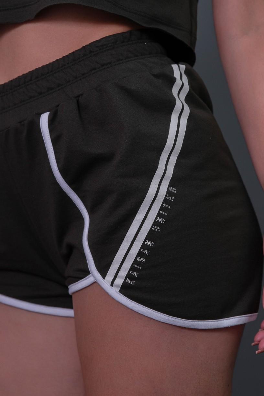 Short Fitness com Silk Listras (Verde Militar / Branco)   Ref: K2581-C