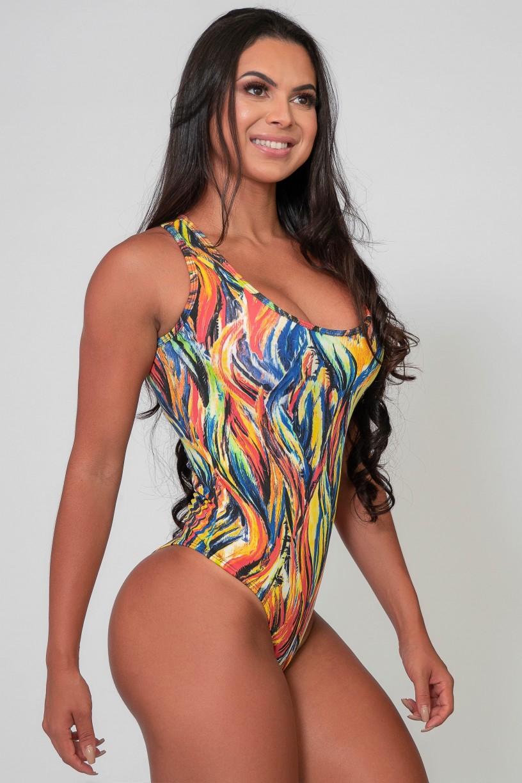Body Nadador Estampado (Abstrato Fluor 3) | Ref: K2590-C